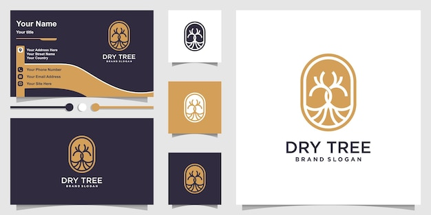 Dry tree logo concept with modern style and business card design premium vector