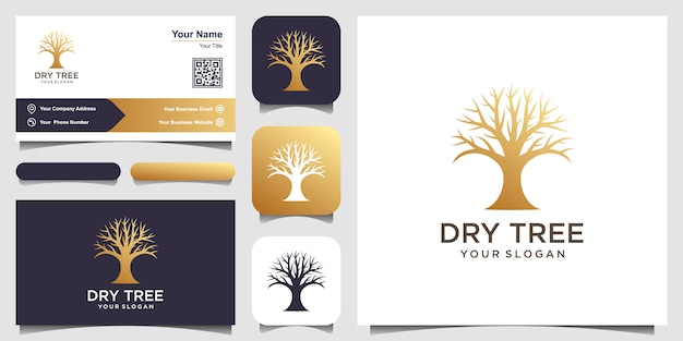 乾燥した木のロゴのテンプレート。ツリーロゴテンプレートの機能。このロゴは装飾的で、モダンで、クリーンでシンプルです。名刺