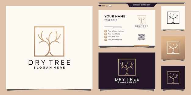 Dry tree logo template with square linear style and business card design premium vector