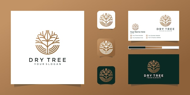 ドライツリーのロゴ。ツリーの機能。このロゴは装飾的で、モダンで、クリーンでシンプルです。と名刺