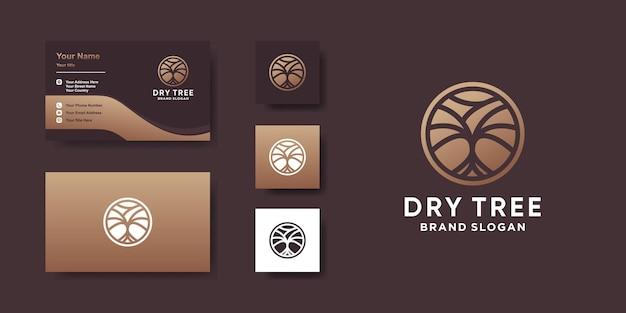 Логотип dry tree с современной концепцией и дизайном визитной карточки premium векторы