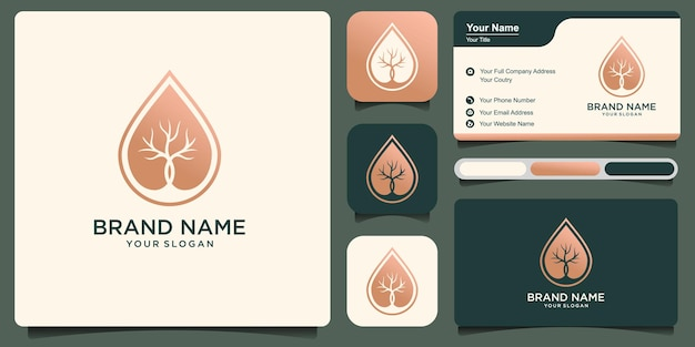 Dry tree oil vector logo template and business card design. tree features. this logo is decorative, modern, clean and simple. premium vector