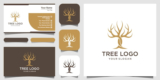Dry tree vector logo template and business card design. tree features. this logo is decorative, modern, clean and simple.