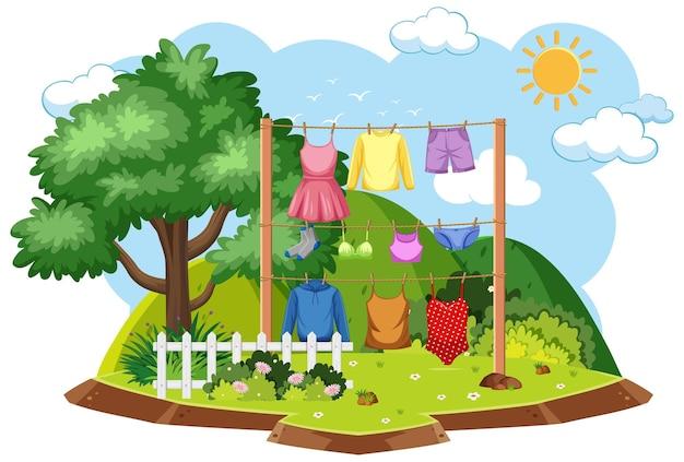 屋外シーンでの衣類の乾燥