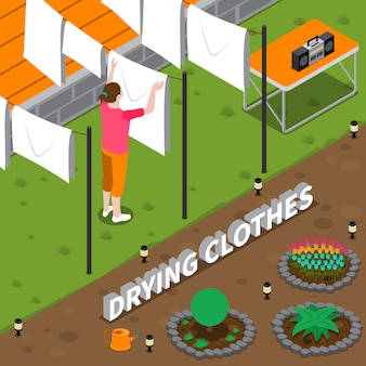 Drying clothes isometric illustration