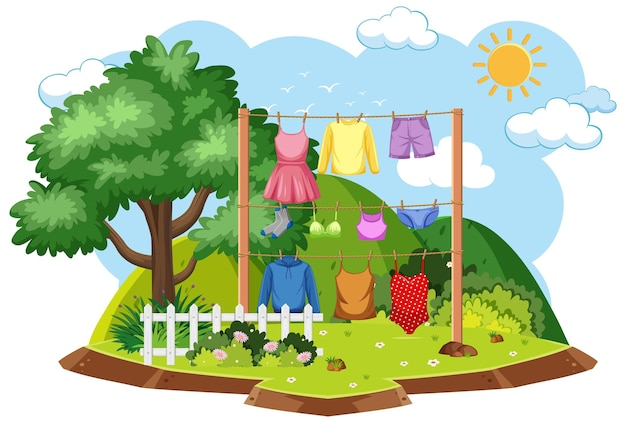 Drying clothes in outdoor scene
