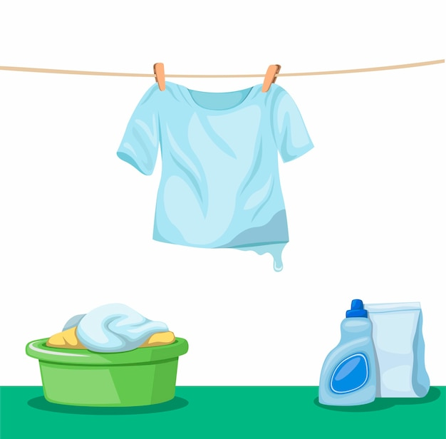 옷 양동이와 빨랫줄에 매달려 젖은 tshirt 건조 바닥에 세제 제품, 옷을 세탁 및 흰색 배경에 만화 그림에 세탁 기호