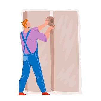 壁の改修ベクトルを作る乾式壁インストーラー。ビルダーの作業と仕上げ乾式壁のインストール。キャラクター建設労働者建築専門職フラット漫画イラスト