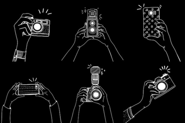 Dslr analog mobile phone mixed snap icon