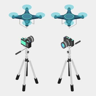 Dslr camera, tripod, and drone