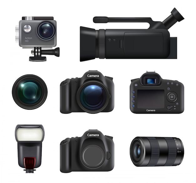 Видео и фото камеры. профессиональная техника dslr для кино и фото производства. мигает объективом реалистичные картинки.