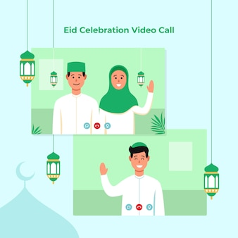 Dual screen video call for eid mubarak islamic festival celebration