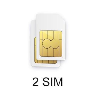 デュアルsimカードサインデュアルsimカードシンボルベクトルイラストスマートフォンの双方向画像
