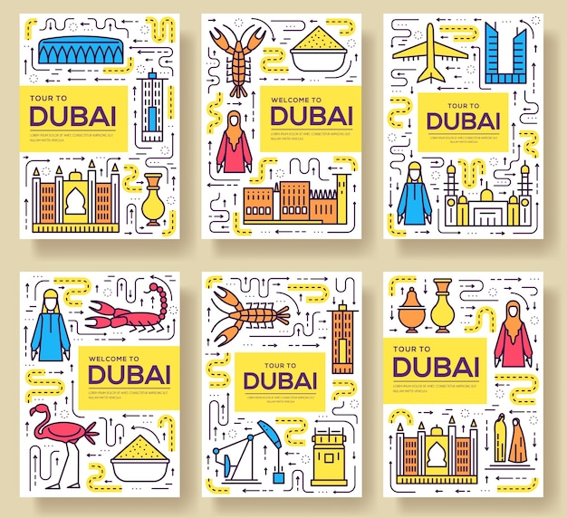 Dubai brochure cards thin line set. country travel template of flyear, magazines, posters, book.