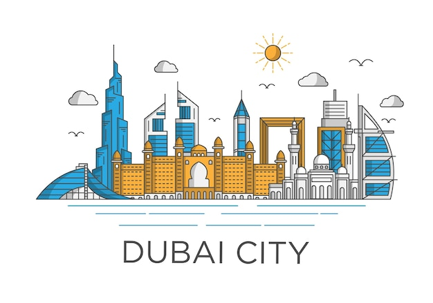 Dubai city skyline background with iconic concept