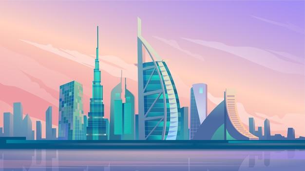 웹 배경의 두바이 도시의 고층 빌딩 플랫 만화 스타일 일러스트