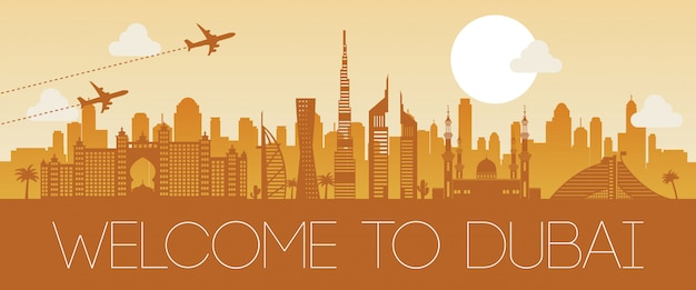 Dubai famous landmark orange silhouette design