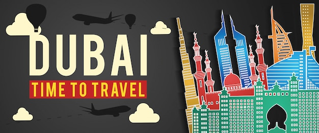 Dubai famous landmark silhouette colorful style