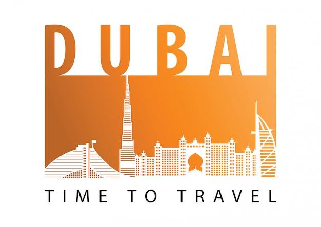 Dubai famous landmark silhouette style