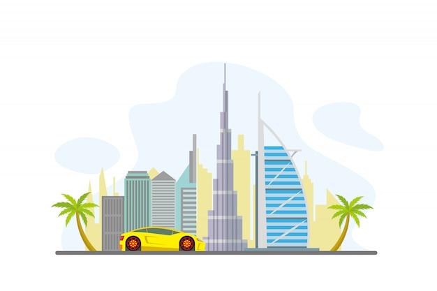 Dubai famous landmarks background