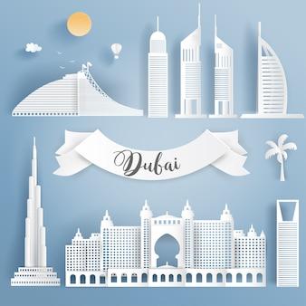 Dubai famous landmarks in paper cut style