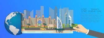 Dubai infographic, global with landmarks of Dubai