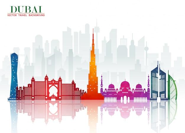 Dubai landmark global travel and journey paper background. .