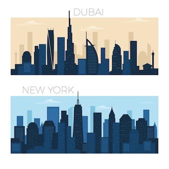 Dubai and new york city skyline