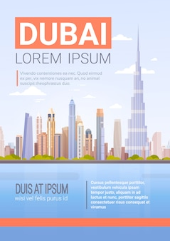 Dubai skyline panorama, modern building cityscape business travel and tourism concept
