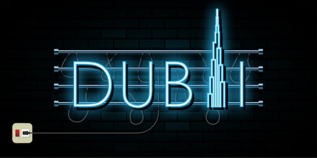 Dubai travel and journey neon light background