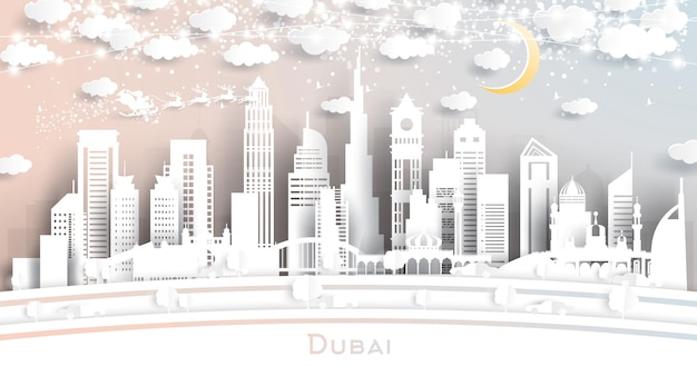 Dubai uae city skyline in paper cut style with snowflakes