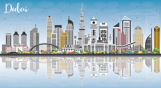 Dubai uae skyline with gray buildings blue sky and reflections vector illustration