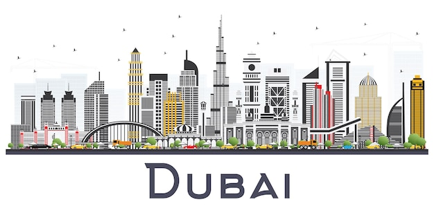 흰색 배경에 고립 된 회색 건물 두바이 아랍 에미리트 스카이 라인. 벡터 일러스트 레이 션. 현대 건축과 비즈니스 여행 및 관광 그림입니다.