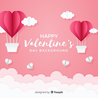 Dubbed hot-air balloons valentine's day background