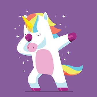 Dubbing unicorn character vector illustration