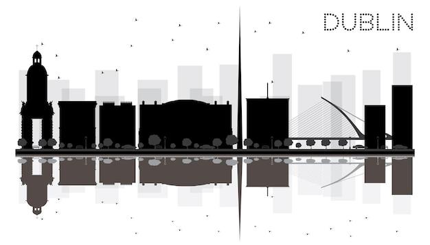 Дублин-сити горизонт черно-белый силуэт с отражениями. векторная иллюстрация. простая плоская концепция для туристической презентации, баннера, плаката или веб-сайта. городской пейзаж с известными достопримечательностями.