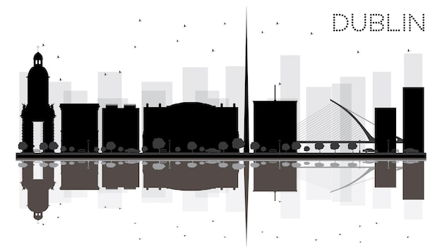 Dublin city skyline black and white silhouette with reflections. vector illustration. simple flat concept for tourism presentation, banner, placard or web site. cityscape with famous landmarks.