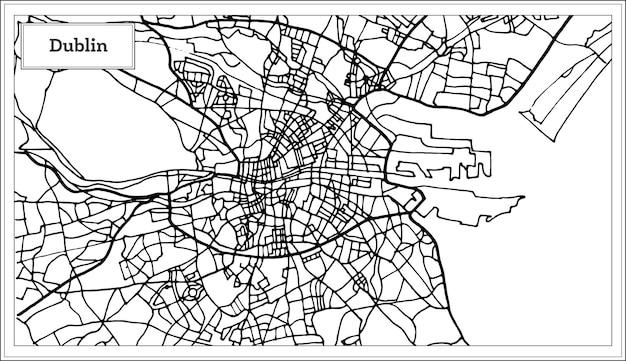 Карта города дублин ирландия в черно-белом цвете. векторные иллюстрации. контурная карта.