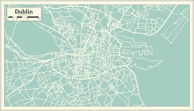 Карта дублина ирландия в стиле ретро. векторные иллюстрации. контурная карта.