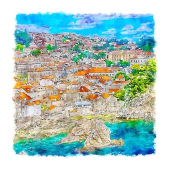 ドゥブロヴニククロアチア水彩スケッチ手描きイラスト