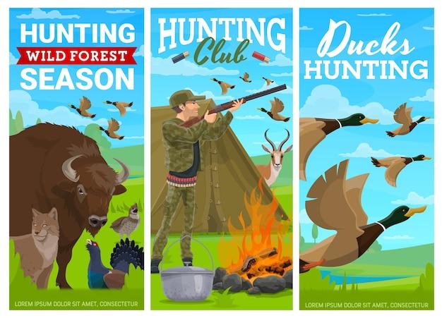 アヒルの鳥や野生動物の狩猟バナー。カモにテントを撃つキャンプでライフルを持つ漫画ハンター。アンテロープとバッファロー、カッパーカイリー、ライチョウ、オオヤマネコの動物と鳥。狩猟スポーツ