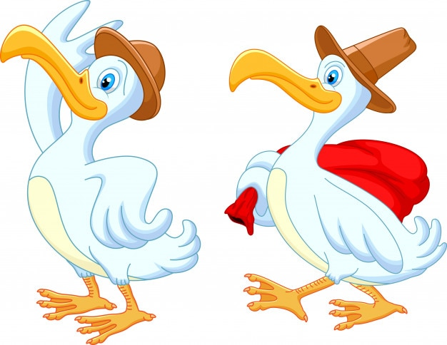 Duck cartoon traveling with hat