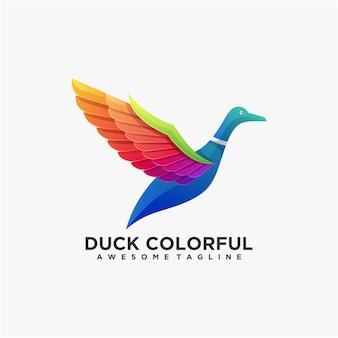 오리 다채로운 로고 디자인 벡터 현대 색상