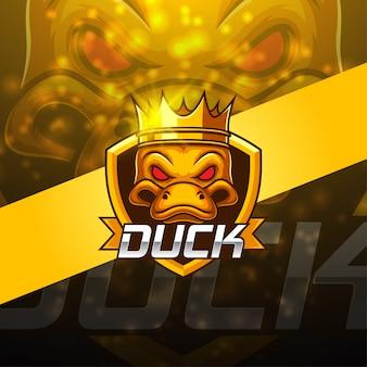 Duck esport талисман дизайн логотипа