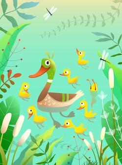 Утиная семья, мама, утенок с маленькими желтыми цыплятами, плавает и ныряет в пруду или озере