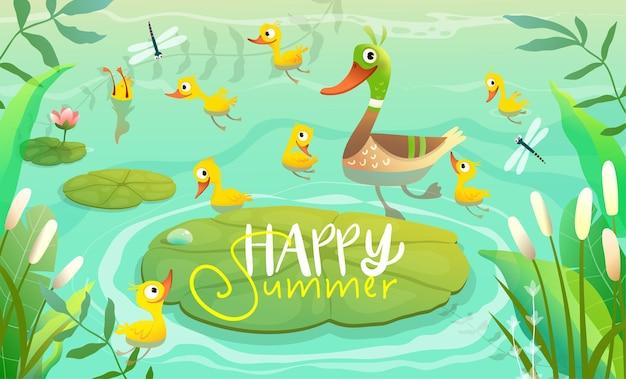 백합 꼬투리가 있는 연못이나 호수에서 수영하는 작은 노란 병아리와 오리 가족 엄마 오리