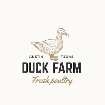 Duck farm fresh poultry abstract  sign, symbol or logo template. hand drawn engraving duck sillhouette sketch with retro typography. vintage emblem.