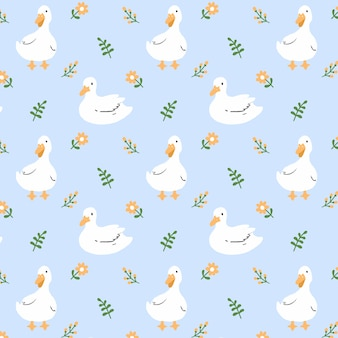 Duck and flower seamless pattern background