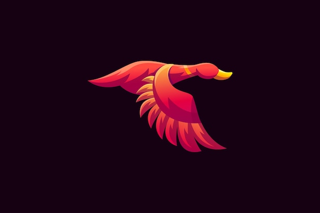 The duck gradient 3d logo template