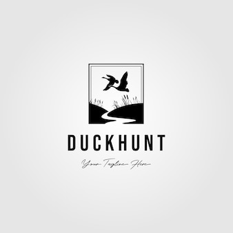 Duck hunt club retro logo isolated